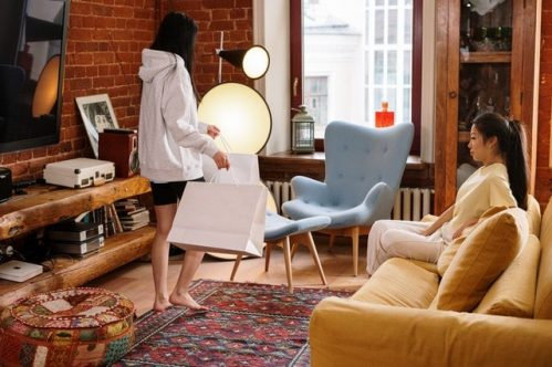 two women in a cozy living room