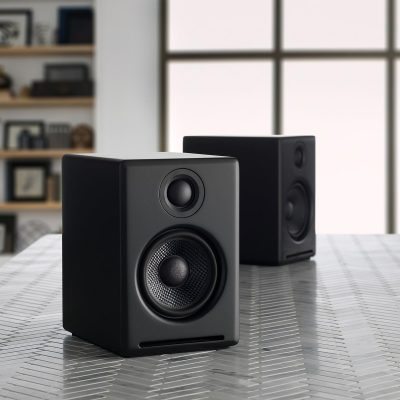 two_black_speakers