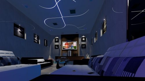 view of adimly lit living room with TV turned on